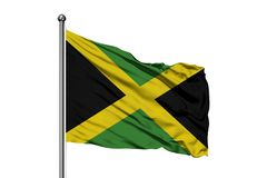 Drapeau de la Jamaïque ondulant dans le vent, fond blanc d'isolement Indicateur jama?quain images libres de droits