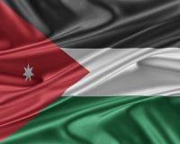 Drapeau de la Jordanie avec une texture en soie brillante Photos libres de droits