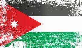 Drapeau de la Jordanie, royaume hachémite de Jordanie, taches sales froissées illustration stock