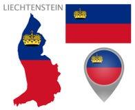 Drapeau de la Liechtenstein, carte et indicateur de carte illustration de vecteur