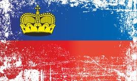 Drapeau de la Liechtenstein, principauté de la Liechtenstein Taches sales froissées illustration stock