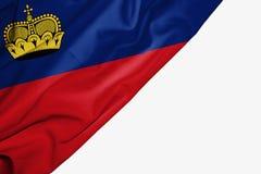 Drapeau de la Liechtenstein de tissu avec le copyspace pour votre texte sur le fond blanc illustration stock