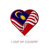 Drapeau de la Malaisie au coeur J'aime mon pays signe Vecteur Image libre de droits