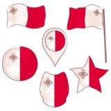 Drapeau de la Malte exécutée dans des formes de Defferent illustration stock