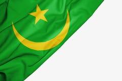 Drapeau de la Mauritanie de tissu avec le copyspace pour votre texte sur le fond blanc illustration de vecteur
