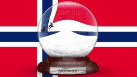 Drapeau de la Norvège sur le globe de neige banque de vidéos
