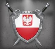 Drapeau de la Pologne avec Eagle Le bouclier avec le drapeau national Cr deux illustration libre de droits