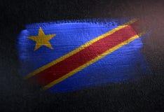 Drapeau de la République démocratique du Congo fait en brosse métallique Pai illustration de vecteur