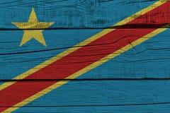 Drapeau de la République démocratique du Congo peint sur la vieille planche en bois illustration de vecteur