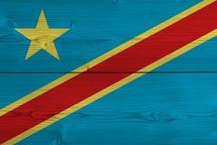 Drapeau de la République démocratique du Congo peint sur la vieille planche en bois illustration libre de droits