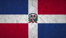 Drapeau de la République Dominicaine avec l'effet du papier et du grunge chiffonnés illustration libre de droits