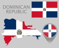 Drapeau de la République Dominicaine, carte et indicateur de carte illustration libre de droits