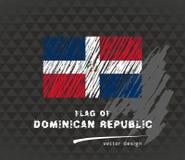 Drapeau de la République Dominicaine, illustration tirée par la main de croquis de vecteur sur le fond grunge foncé illustration libre de droits