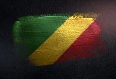 Drapeau de la République du Congo fait de peinture métallique de brosse sur Grung illustration de vecteur