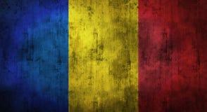 Drapeau de la Roumanie chiffonné par grunge rendu 3d Image stock