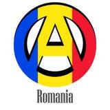 Drapeau de la Roumanie du monde sous forme de signe d'anarchie illustration de vecteur