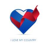 Drapeau de la Russie au coeur Aimez mon pays signe Illustration de vecteur illustration de vecteur