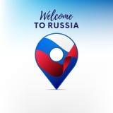 Drapeau de la Russie dans la forme de l'indicateur de carte Accueil vers la Russie Illustration de vecteur illustration de vecteur