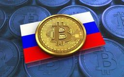 drapeau de la Russie du bitcoin 3d Photos stock