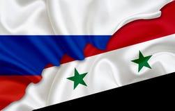 Drapeau De La Russie Et Drapeau De La Syrie Illustration Stock ...