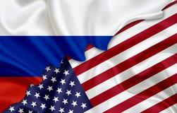 Drapeau de la Russie et drapeau des Etats-Unis Photo libre de droits
