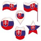 Drapeau de la Slovaquie exécutée dans des formes de Defferent illustration stock