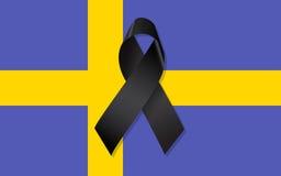 Drapeau de la Suède avec le ruban noir Photos stock
