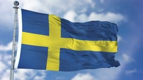 Drapeau de la Suède dans un ciel bleu Images stock