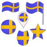 Drapeau de la Suède exécutée dans des formes de Defferent illustration stock