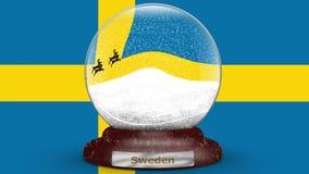 Drapeau de la Suède sur le globe de neige banque de vidéos