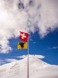Drapeau de la Suisse et du canton Uri avec les Alpes Images stock