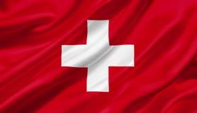 Drapeau de la Suisse ondulant avec le vent, illustration 3D illustration de vecteur