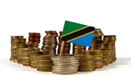 Drapeau de la Tanzanie avec la pile de pièces de monnaie d'argent Photo libre de droits