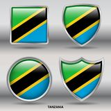 Drapeau de la Tanzanie dans la collection de 4 formes avec le chemin de coupure Photos stock