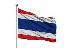 Drapeau de la Thaïlande ondulant dans le vent, fond blanc d'isolement Drapeau tha?landais image stock