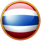 Drapeau de la Thaïlande sur le bouton rond Photographie stock libre de droits