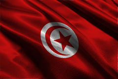 Drapeau de la Tunisie, symbole d'illustration du drapeau national 3D de 3D Tunisie Photographie stock libre de droits