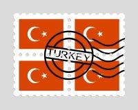 Drapeau de la Turquie sur des timbres-poste Image libre de droits