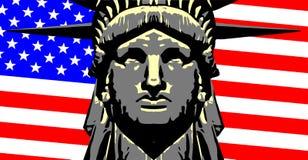 Drapeau de Liberty Head Over The Stars et de rayures illustration de vecteur