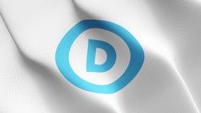 Drapeau de logo de parti démocratique des Etats-Unis ondulant sur le vent illustration stock