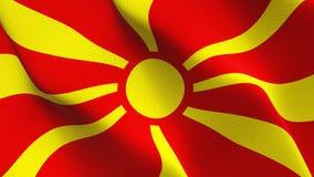 Drapeau de Macédoine ondulant sur le vent illustration stock