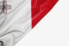 Drapeau de Malte de tissu avec le copyspace pour votre texte sur le fond blanc illustration de vecteur