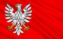 Drapeau de Masovian Voivodeship ou de province de Mazovia dans Pola oriental images stock