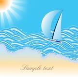 Drapeau de mer avec le yacht Photo stock