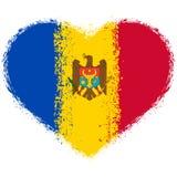 Drapeau de Moldau sur le coeur grunge illustration libre de droits