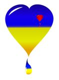 Drapeau de nacional de coeur de l'Ukraine Images libres de droits