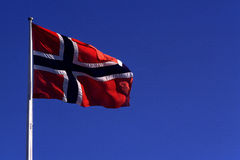 Drapeau de Narway - drapeau norvégien Photos stock