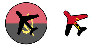 Drapeau de nation - avion d'isolement - l'Angola Image libre de droits