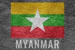 Drapeau de nation de MYANMAR sur la conception de texture de treillis Image stock