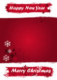 Drapeau de Noël dans des couleurs grunges rouges Photos stock